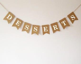 Desserts bunting, sweetie buffet table decoration, wedding, baby shower, birthday