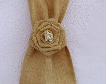 Curtain Tieback - Drape Holdback - Rustic Window Treatment - Country Decor - Tieback - Burlap Flower tie back - French door curtain