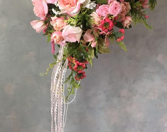 SILK Two piece WEDDING FLOWERS  brides bouquet and boutonniere