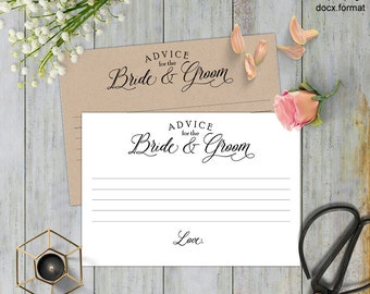 Advice for the newlyweds, Advice card wedding, advice for the bride and groom, Advice wedding, printable,templates, Instant download,#S5-ABG