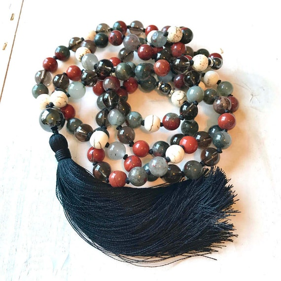 Men's Root Chakra Mala, Unisex Mala Bead Necklace, Ganesha Mala Beads, Bloodstone And Smoky Quartz Mala, Red Jasper And Hematite