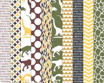 Digital Printable Scrapbook Craft Paper - A4 - Dinosaur Rumble - Green Brown Black Yellow Dots Chevron Reptile Skin - PU/CU Commercial Use