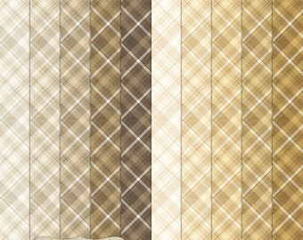 """Digital Printable Scrapbook Craft Paper - A4 - Plaid in Brown Shades - 8.5 x 11"""" - PU/CU Commercial Use"""