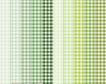 """Digital Printable Scrapbook Craft Paper - Gingham in Green Shades - Plaid Tartan Lime Emerald Pastel Green - 12 x 12"""" - PU/CU Commercial Use"""