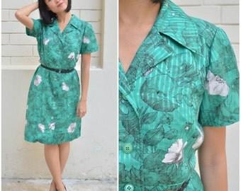 1970 Vintage Dress/ Magnolia Emerald Dress/ Medium Dress/ Green Dress/ Midi DRess/ Shirtwaist Dress/ Collar Shirtdress/ Summer Spring Dress