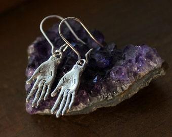 Fortune Teller Dangle Earrings, Palmistry Earrings, Oracle Jewelry, Palm Reading Jewelry, Palmistry Hand, Fortune Teller Gypsy, Witchcraft