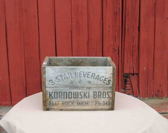Vintage 3 Star Beverage Soda Wood Crate Bottle By Kornowski Bros Flat Rock MI, Ph. 349, Pop,Rare