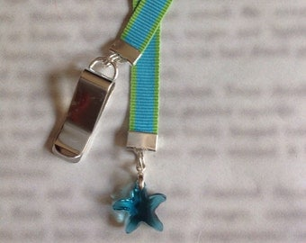 Crystal Sea Star bookmark with clip - Attach clip to book cover then mark the page with the ribbon. Never lose your bookmark!