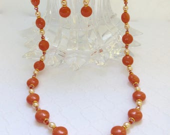 Summer Necklace & Earrings, Pearl Jewelry Set, Short Colorful Necklace, Orange Beaded Jewelry, Her Anniversary Gift, Jewelry Gift for Wife