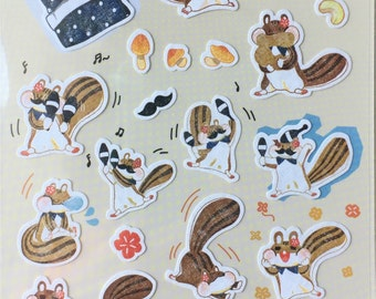 Squirrel sticker,craft supply,scrapbook supply,diary sticker,colorful sticker,animal sticker