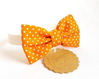 Child orange bow tie with white polka dots, polka dot bow tie, baby bow tie, gift ideas, cotton bow tie