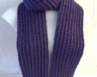 Purple Reflective Scarf, Purple Knitted Scarf, Mens Scarf, Womens Scarf, 4.75 x 70 Hand Knit Acrylic, Violet