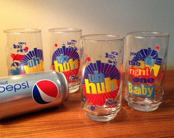 """Set of 4 or 8 Diet Pepsi """"Uh huh, you got the right one Baby!"""" glasses - two sets may be available"""