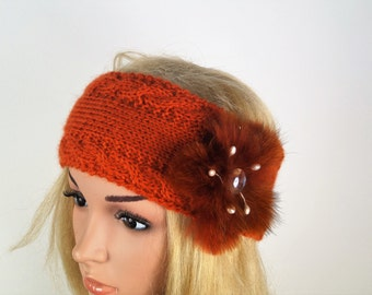 NEW- Earwarmer Cablet, Winter Crochet,Headband, Knitting Winter Headband ,Fur Flower ,Christmas Gift,Wool Ear Warmer,Alpaca Headband