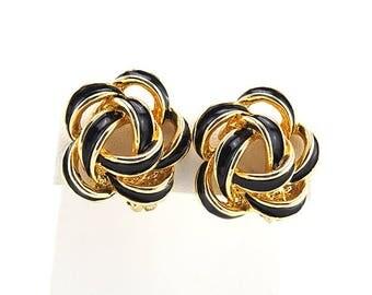 Classic Vintage Earrings With Black Enamel Flowers