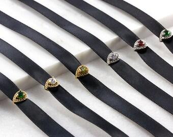 Black Diamond Choker/ Cubic Zirconia Choker/ Black Satin Choker/ Black CZ Choker/ Black Satin Necklace