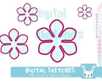 Flower Applique Machine Embroidery Design 4 Sizes