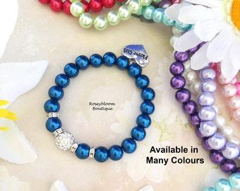 Navy Pearl Bracelet-Navy Bracelet-Navy Flower Girl Bracelet-Flower Girl Gift-Navy Girl Bracelet-Blue Girl Bracelet-Pearl Girl Bracelet