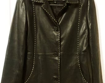 Stylish and Very Chic Black Vintage Leather Jacket