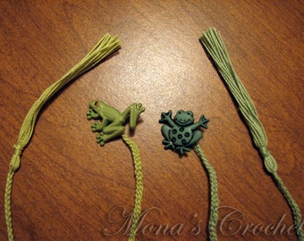 Hand Crocheted Water Creature Button Bookmarks For Boys and Girls | Bookmarks For Kids | Animal Bookmarks | Stocking Stuffers