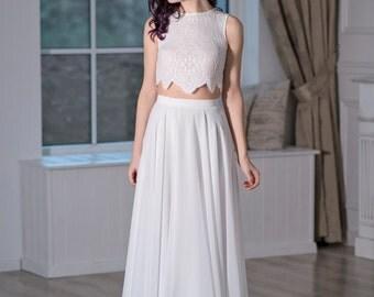 Iris - chiffon bridal skirt / slim silhouette bridal skirt / A line bridal skirt / lightweight bridal skirt / beach bridal skirt