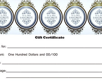 Gift Certificate Gift Idea For Her The Perfect Gift For Wife Girlfriend Gift Shop For Yourself Itsmyfavoritejewelry Gift Certificate