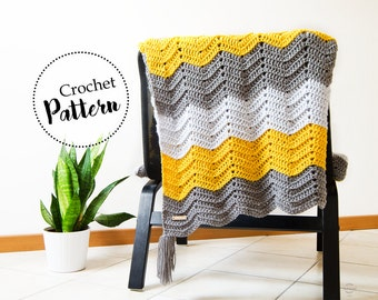 Arya throw blanket crochet pattern || blanket crochet pattern || tassel blanket || chevron blanket || wool blanket crochet pattern