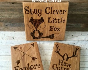 Fox nursery, Woodland Creature Nursery Signs, Fox wall art, Rustic nursery signs, Fox nursery sign, Nursery quotes, Forest animals, Set of 3