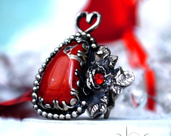 Red Jasper Ring - Vintage Inspired Romantic Jewelry - Size 7 - Sterling Silver Red Stone Ring- Infinity Heart Silver Ring Band - Rose Silver