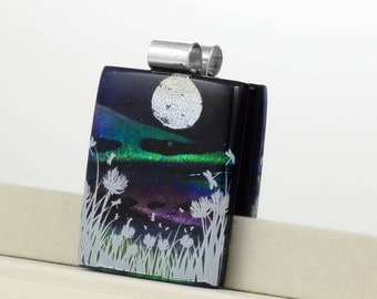 Meadow with Dragonflies Fused Glass Pendant -  Meadow with Moon on Sparkling Grey Background - Dichroic Glass - Night Pendant JBT380
