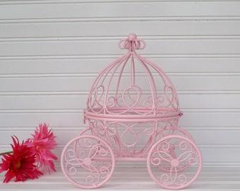 Pink Carriage. Cinderella Carriage. Princess Carriage. Nursery Decor. Bridal Shower Decor. Princess Decor. Queen Decor. Little Girls Room.