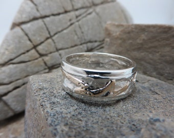 Sterling silver reticulated with yellow gold ring