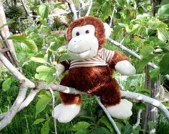 Vintage Monkey Plush Toy, Stuffed Monkey Toy, Brown White Monkey, Fluffy Soft Monkey, Monkey wearing a blouse, for Kids, For Nursery