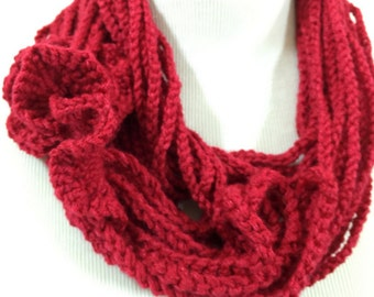 Red Crochet scarf, Infinity scarves, Gift for her, Handmade necklace, Boho, Crochet jewelry, Ready to ship,