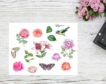 Planner sticker flowers in my garden, floral stickers
