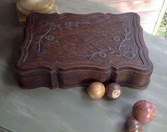 Wooden box, hand carved