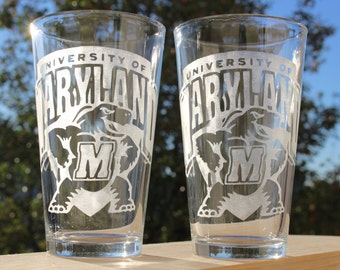 University of Maryland Pint Glasses, featuring Testudo, Gift for Terps and other Maryland Terrapins Fans, Gift for UMD Graduate, set of 2