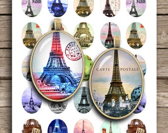 Eiffel Tower 13x18mm 18x25mm 22x30mm 30x40mm Printable Oval images for Pendant Trays Cabochons Digital Collage Sheet Instant Download