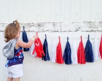 PATRIOT | Paper Tassels Red White Blue Garland - Banner - Patriotic - Brave - Birthday - Cake Smash - 4th of July - Labor Day