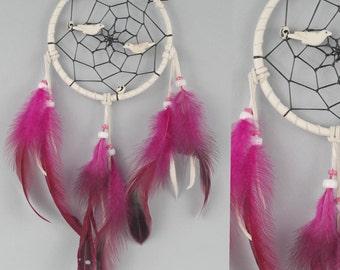 White and Pink Dreamcatcher, Girl Nursery Dream Catcher, Nursery Wall Hanging, Children Bedroom Decor