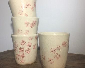 Tumbler Set - Pottery Tumbler Set, Pottery Tumbler, Cup Set, Pottery Cups, Ceramic Tumbler, Ceramic Cup, Rose Pottery