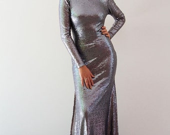 Anastasia Sequinned Gown with Long Sleeves
