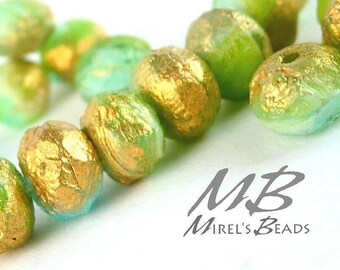 9x6mm Gold Etched Green and Aqua Rondelles, Faceted Rondelle, 10 pcs Czech Glass, Puffy Donut Beads