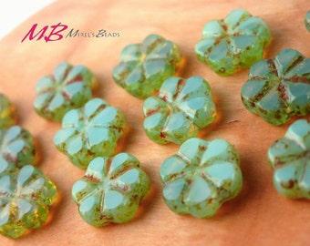 15 Aqua Opaline Picasso Flower Beads, Green 10mm Flower