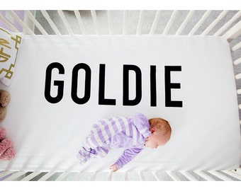 The ORIGINAL Personalized Crib Sheet, Organic // Additional Colors, Fitted Crib Sheet, Organic Bedding, Name Reveal, Baby Shower Gift