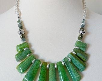 Green Necklace, Bib Statement Necklace, Jasper Necklace, Graduated Necklace, Gemstone Necklace, Green Jasper, Bohemian Necklace Ocean Jasper