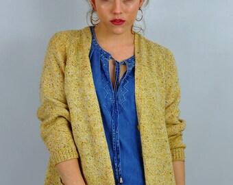 Vintage '80s Yellow Knit Cardigan