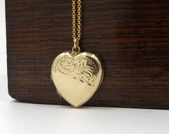 9ct Gold Heart Locket | Vintage 9ct Back And Front Locket On A Chain | 9k Pendant Engraved Locket Necklace