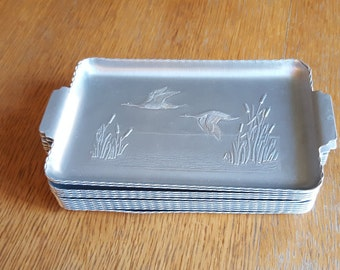 Set of 12 Rectangular Aluminum Snack Trays with Embossed Ducks