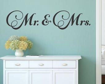Mr and Mrs Decal Mr and Mrs Vinyl Decal Couples Decal Mr and Mrs Wall Decal Wedding Gift Master Bedroom Wall Decal Vinyl For Couple